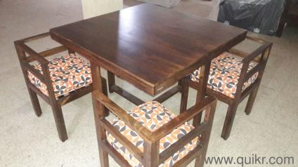 Brand New 4 Seater Kivaha Dining Table With Chair Set Walnut