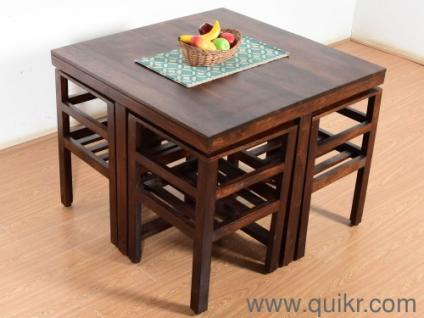 Brand New 4 Seater Kivaha Dining Table With Chair Set Walnut Finish For Sale