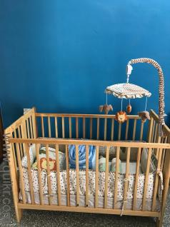 baby crib with 1 mattress 1 blanketnot used 2 crib bumpers and pillows - Used Baby Cribs